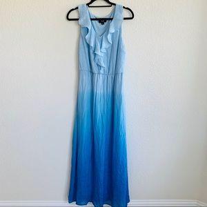 AGB Blue Ombré sleeveless ruffle Maxi dress L